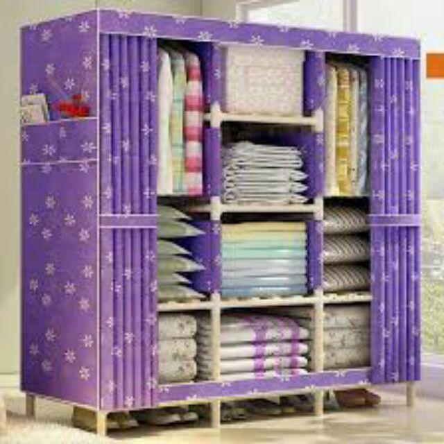 Tủ vải 3 buồng 8 ngăn khung gỗ giá sỉ