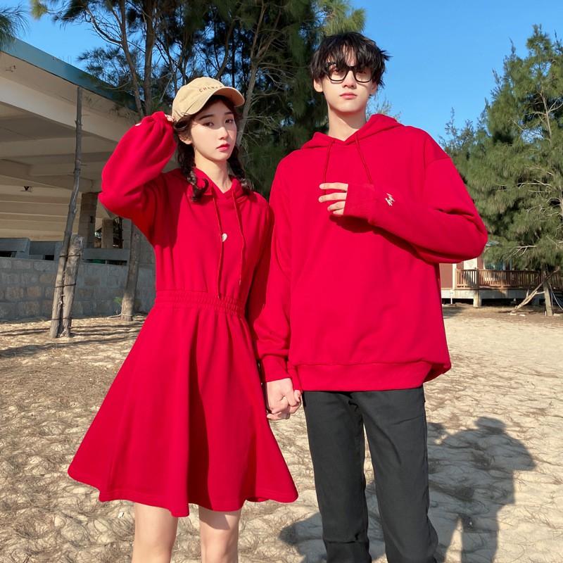 Áo Sơ Mi Dài Tay Màu Đỏ Thiết Kế Đơn Giản Thời Trang Dành Cho Cặp Đôi