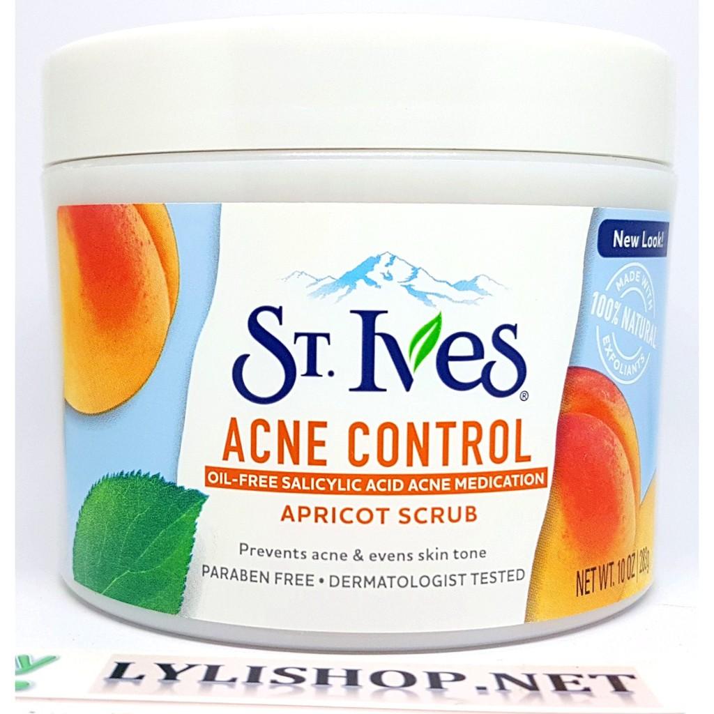 Tẩy Tế Bào Chết toàn thân ST IVES Acne Control Hương Mơ hủ 283g từ Mỹ , sửa  tắm cát scrub mẫu mới