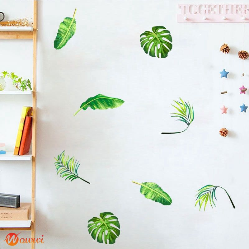 ❥ DIY Home Decoration Living Room Bedroom Party Spray Painting Tropical Plant Wall Sticker Gdth