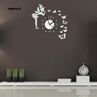 Đồng hồ dán tường họa tiết hình nàng tiên và bướm dùng trang trí phòng