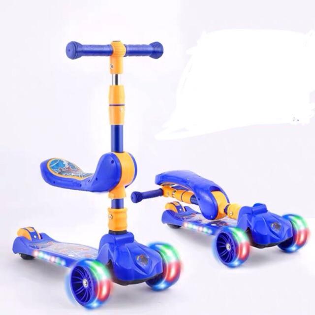 Xe trượt scooter có nhạc ,đèn kiêm chòi chân 2 trong 1