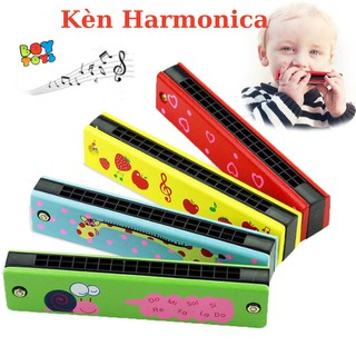 Đồ chơi âm nhạc kèn Acmonica, Harmonica gỗ tremolo 16 lỗ họa tiết hoạt hình dễ thương cho bé thumbnail