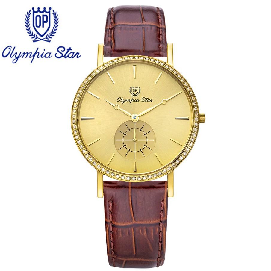 Đồng hồ nam dây da mặt kính sapphire chống xước Olympia Star OPA58082DMK-GL-V