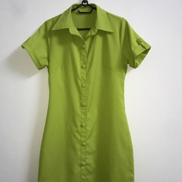 1650752558 - Váy đầm somi vintage nút bọc cổ điển 2hand