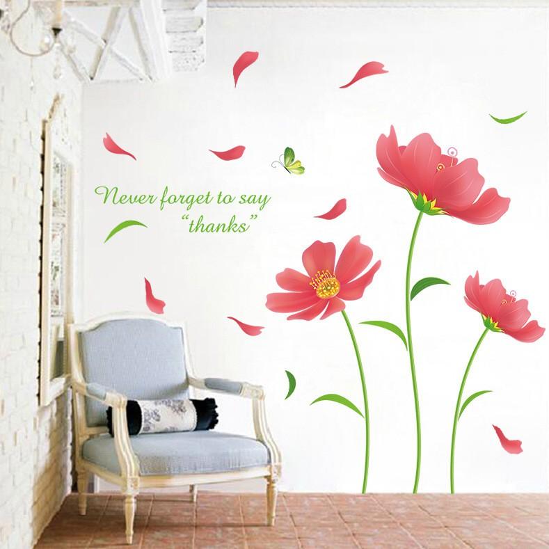 Decal dán tường hoa cánh đỏ