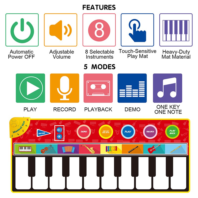 148*60cm Oversized Baby Musical Play Mat Children Educational Piano Music Carpet Toys