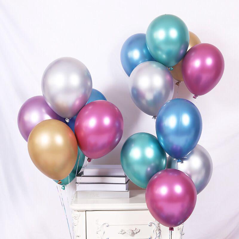 Chrome Metal Balloon Kỷ niệm ngày cưới Bong bóng dày Bữa tiệc sinh nhật 12 inch
