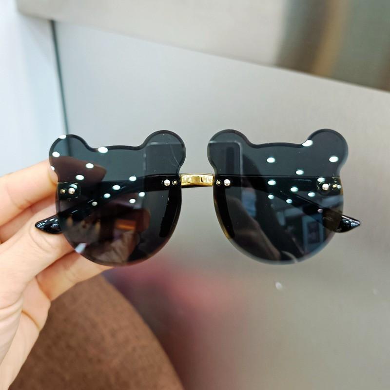 Kính cho bé gái chống tia UV, Mắt kính trẻ em thời trang đáng yêu hình gấu_MS39