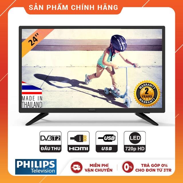 Tivi LED Philips 24 inch HD - 24PHT4003S/74 (Chính Hãng Phân Phối)