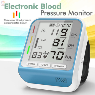 ET Wrist Blood Pressure Monitor Automatic Electronic Sphygmomanometer Tri-color Indicator Light 4.7'' Large LCD Display 2 Users 99 Groups Data Storage Portable Compact Size
