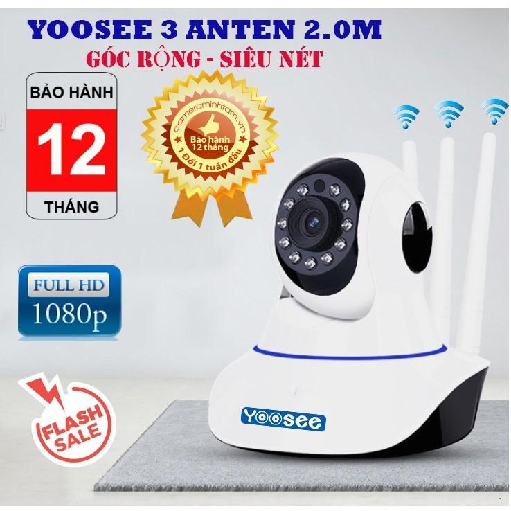 Camera 3 râu . camera WIFI YooSee độ phân giải Full HD 1080P,hỗ trợ thu âm,đàm thoại 2 chiều,không cần thẻ nhớ