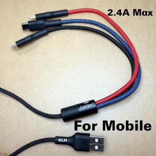 Cáp sạc 3 đầu cao cấp, dây sạt đa năng cho iphone samsung micro type-c Earldom 067 KLH Shop