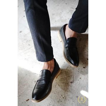 Giày lười nam cao cấp - giày da tổng hợp - giày không dây- Giày Loafer No.5 Đế Gỗ Đen