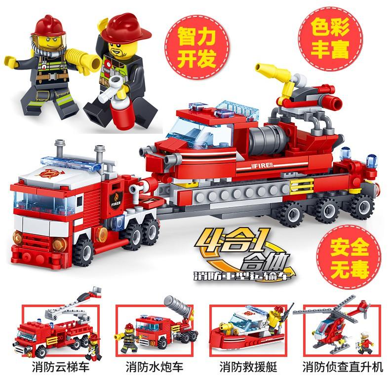 Bộ Đồ Chơi Lego Xếp Hình Thành Phố 4 Trong 1 Cho Bé