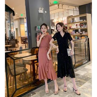 Đầm Dài Tay Ngắn Chiết Eo Kiểu Dáng Nhẹ Nhàng Thanh Lịch Cho Nữ Cỡ L-4xl