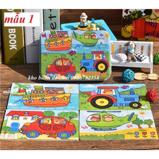 HỘP đồ chơi PUZZLE TỔNG HỢP 4 IN 1 bằng gỗ cho bé từ 3 tuổi