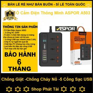 Ổ Cắm Điện Thông Minh, Hỗ Trợ Sạc Nhanh Cho Điện Thoại ASPOR A501/ A502/ A503, Tiêu Chuẩn EU - Bảo Hành 12 Tháng