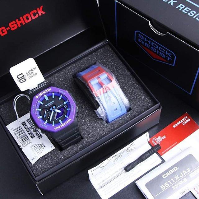 Đồng Hồ Nam Casio G Shock GA-2100THS-1A - Nam - Dây Nhựa Màu Đen - Viền Mặt Màu Tím