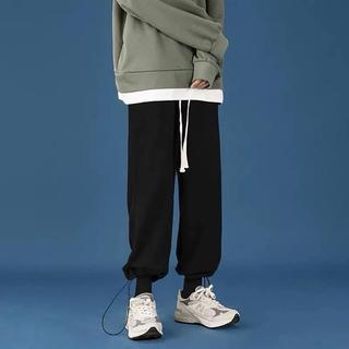Quần nỉ trơn bo gấu, JACKLANE , quần dài nam nữ Unisex form rộng dáng Hàn