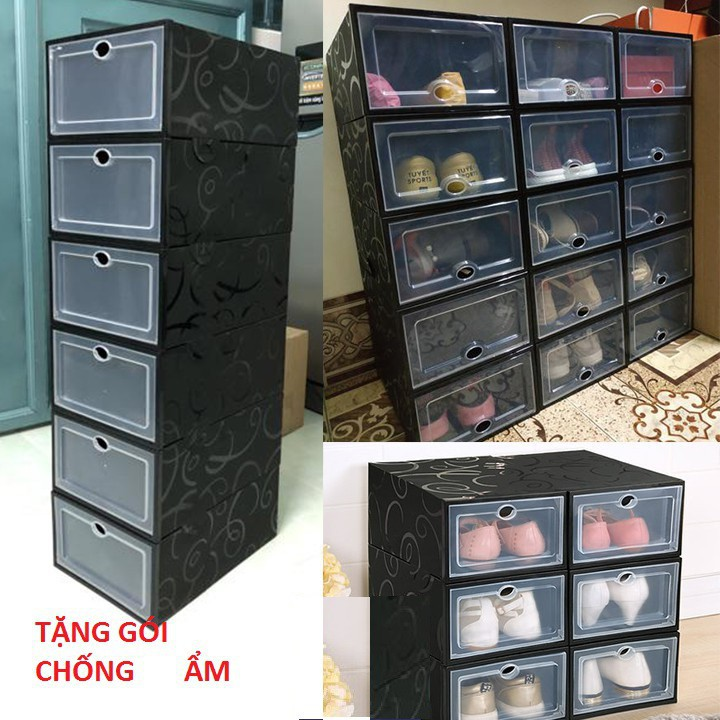 Hộp đựng giày size lớn làm bằng nhựa mica có nắp cứng chịu lực chống bụi bẩn(TẶNG GÓI HÚ