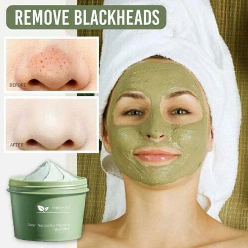 Green Tea Cooling Cleansing Mud Mask Deep Cleansing Oil Control Shrinking Pores Remove Blackhead Face Mask 100g