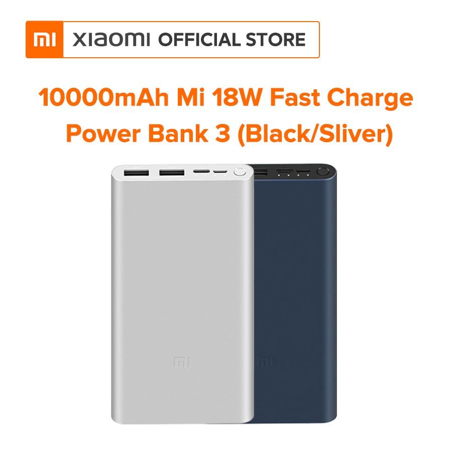 Pin sạc dự phòng Xiaomi Mi Gen 3 10000 mAh 18W - Hỗ trợ sạc nhanh (Đen, Bạc) - Hàng chính hãng - Bảo hành 6 tháng
