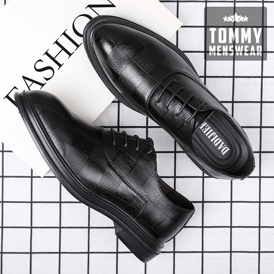 Giày Da Nam - TẶNG TẤT - Giày Nam Cổ Thấp Đẹp Dập Vân Nam Tính GNK15