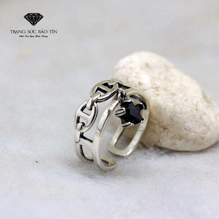 Nhẫn Bạc Thái Nữ Nhẫn Hai Lớp Họa Tiết Ngôi Sao- Thương Hiệu Bảo Tín