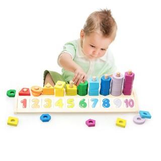 Đồ chơi gỗ bảng học số đếm, hình học có cọc mẫu mới