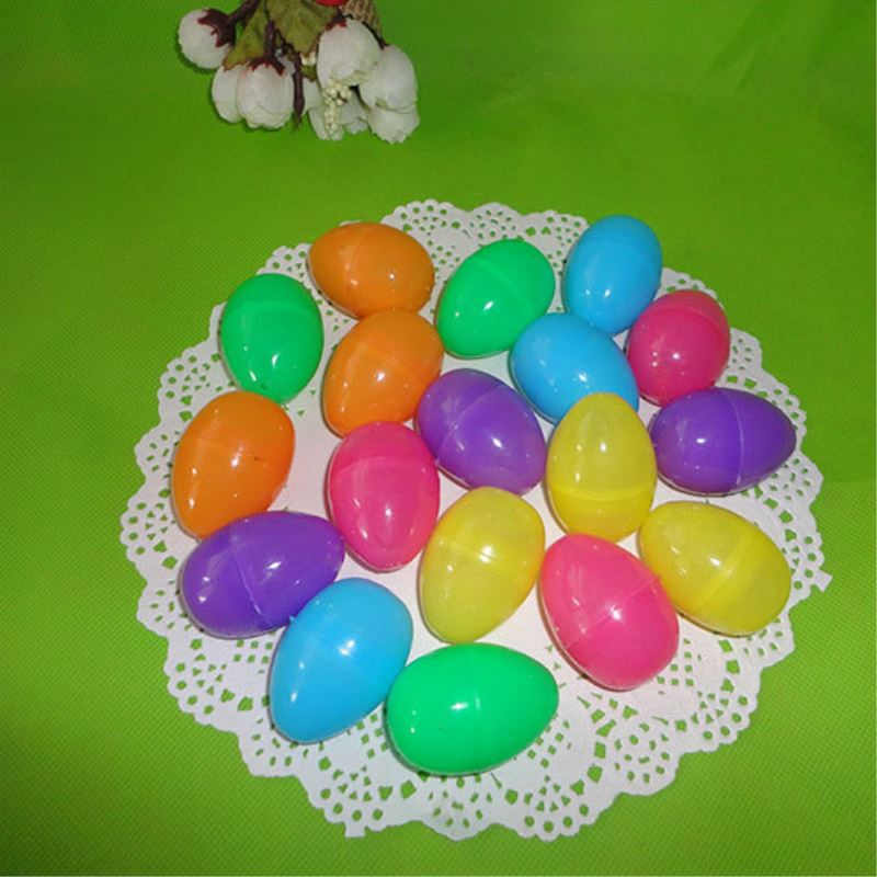12pcs Colorful Color Plastic Easter Egg DIY Simulation Eggs Easter Party Decor