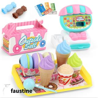 Children Mini Supermarket Cash Register Toy Set 22 PCS Dessert Fruit Shopping Cart Toy