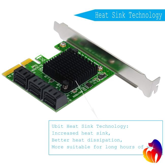 Expansion Card Riser Card PCIe 2.0 X2 to SATA III 6-Port Adapter Card for IPFS Mining Pci-e to Card Giá chỉ 632.800₫