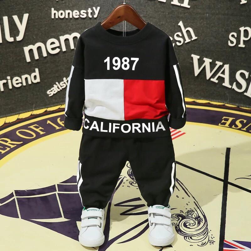 Set bộ quần áo trẻ em thu đông in hình số 1987 dành cho bé trai 1-5 tuổi