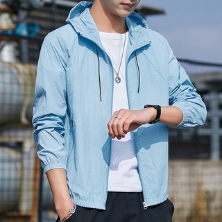 Spot sunscreen clothes men's summer coat ultra thin youth Korean fashion cool breathable spring and autumn clip