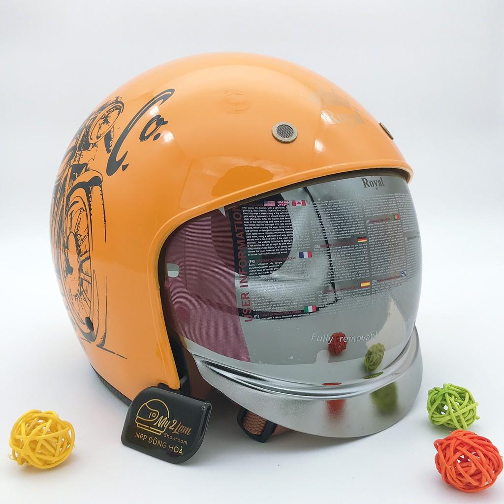 Mũ bảo hiểm 3/4 kính âm Royal M139 vàng bóng V7 (tặng kèm túi đựng)