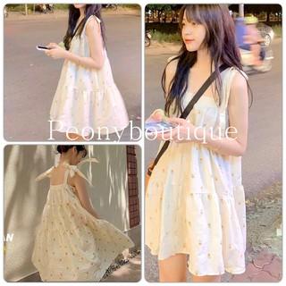 Váy Hoa Nhí Shan Buộc Nơ PEONYB [FREESHIP] Đầm 2 dây babydoll tầng bồng dáng xòe bánh bèo tiểu thư Ulzzang thumbnail