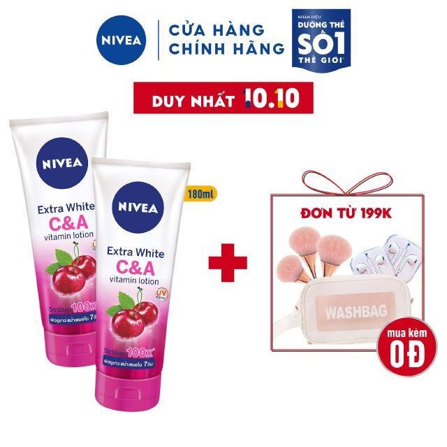 Bộ đôi Sữa dưỡng thể dưỡng trắng Nivea Extra White C&A Vitamin Lotion 180ml/chai – 80372