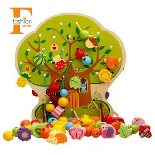 👑MWZ Children'S Wooden Blocks Cartoon Fruit Tree Beaded String Toys