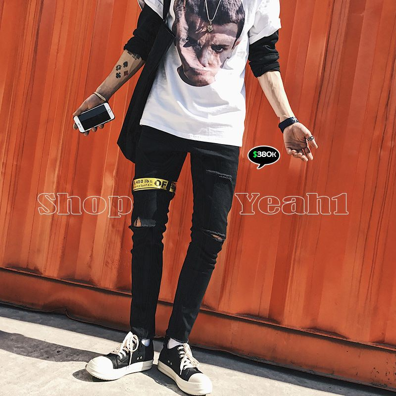 [Yeah1Shop]- Quần Jeans dài rách gối phồi tags vàng D152