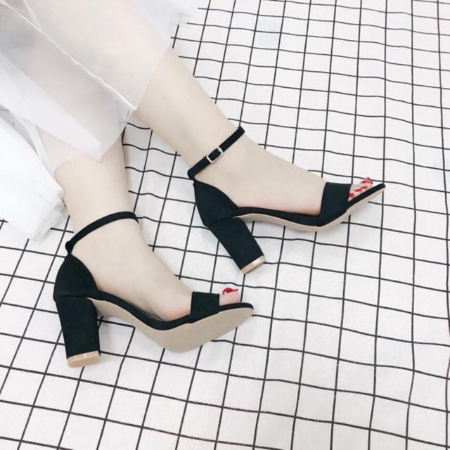 – Giày cao gót 7 phân đen quai ngang MS -[HÀNG VNXK