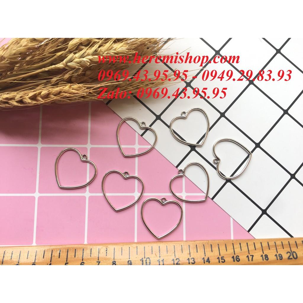 Mặt hình tim có lỗ xỏ(túi 10 mặt)/đồ làm khuyên tai/vòng tay/mặt hình học