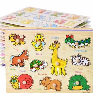 Combo 5 bảng ghép hình núm gỗ. Đồ chơi giáo dục cho bé từ 1 đến 5 tuổi.