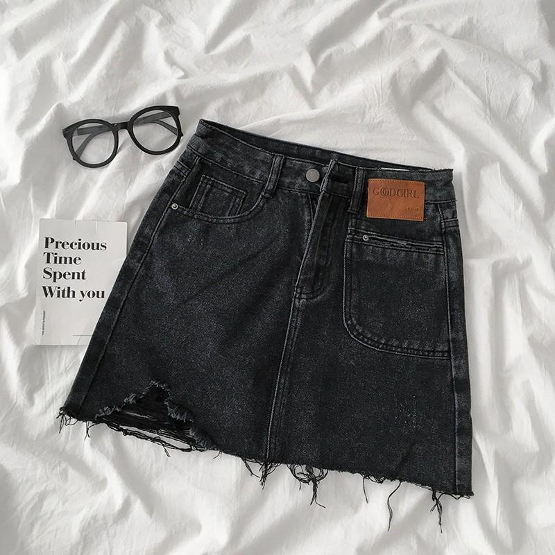 Chân váy jean túi trước rách gấu ulzzang 630