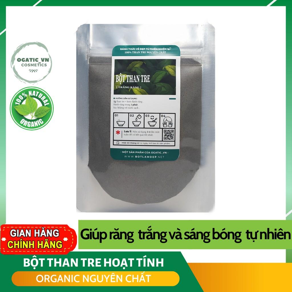 Bột than tre hoạt tính hữu cơ Ogatic_vn - Đánh răng trắng tự nhiên không ê buốt, loại bỏ mảng bám và cao răng 100gr