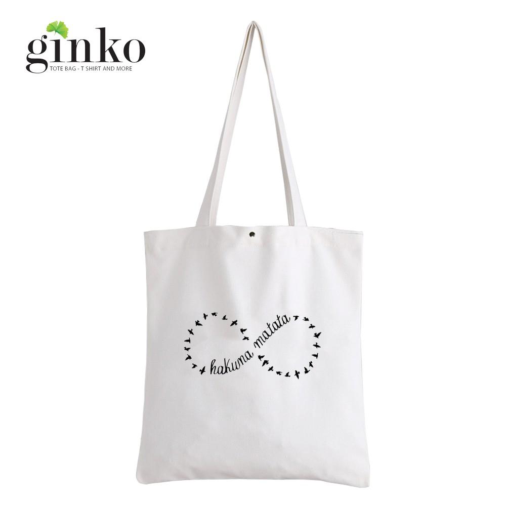 Túi Vải Tote GINKO Kiểu Basic Nút Bấm 33x38cm In Hình Hakuna Matata