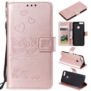 For Huawei P20 Lite Y9 Prime 2019 Nova 5i 5 P20 Pro Emboss Leather Phone Case Owl Shockproof Stand Flip Cases