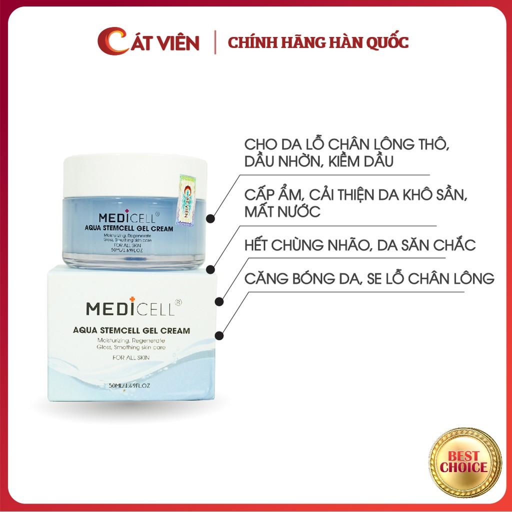 Kem dưỡng da chuyên sâu, dưỡng ẩm, kiềm dầu, phục hồi da sau mụn, nám tàn nhang, chăm sóc da Medicell Aqua Stem Cell Gel