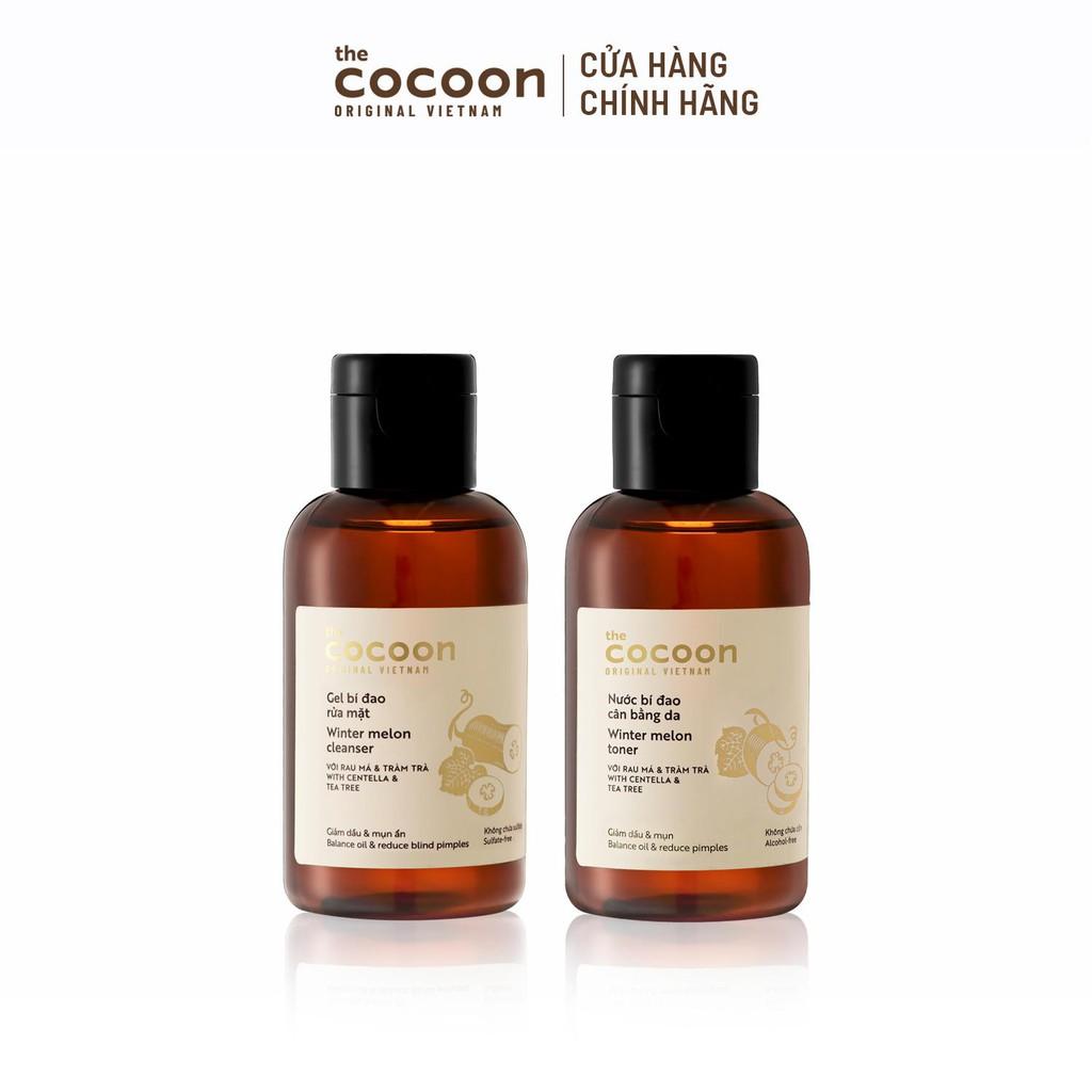 Combo Gel bí đao rửa mặt 140ml và Nước bí đao cân bằng da Cocoon 140ml