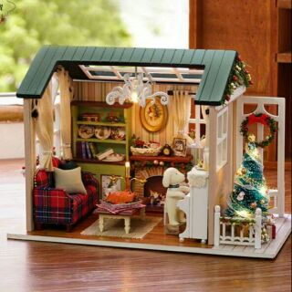 Kèm mica – Mô hình nhà gỗ búp bê dollhouse DIY – Z009 holiday